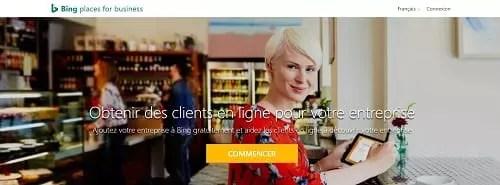 capture d'écran de la page d'accueil de bing places