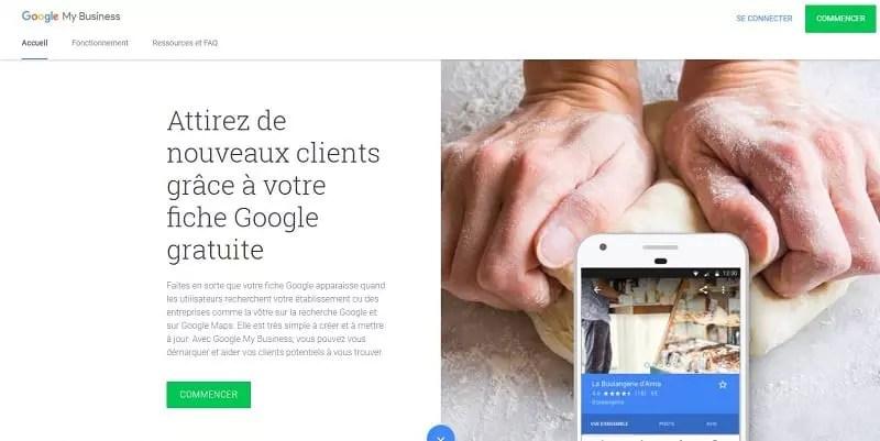 capture d'écran de la page d'accueil de Google My Business