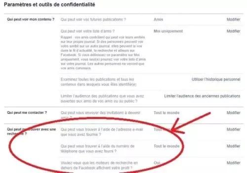 Réglage de confidentialité de Facebook