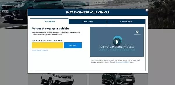 Offre de reprise en ligne de votre ancienne voiture par Peugeot UK