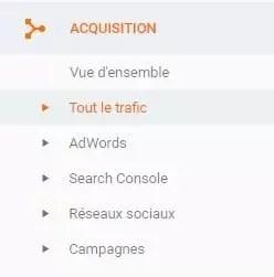 option d'acquisition dans google analytics