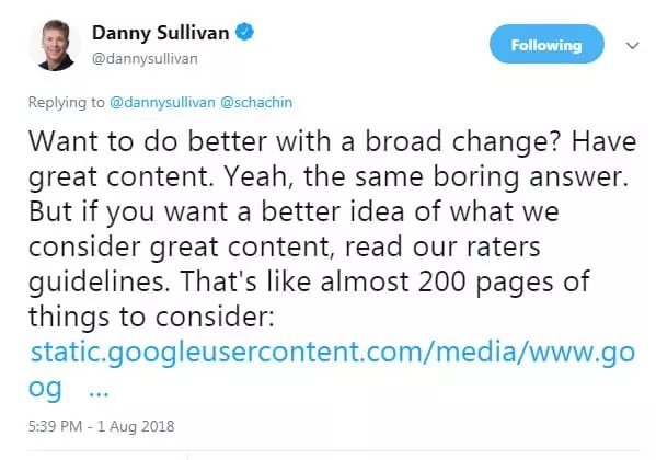 Danny Sullivan de Google mentionnant les directives de Qualité après la Mise à jour Google du 1 Août 2018
