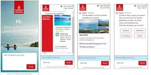 Un exemple d'AI : Emirates Vacations ajoute un chatbot alimenté par l'IA directement dans les annonces
