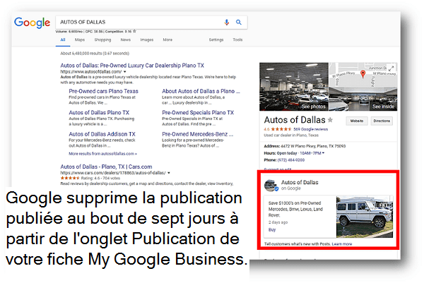 Exemple de publication Google sur la fiche My Business