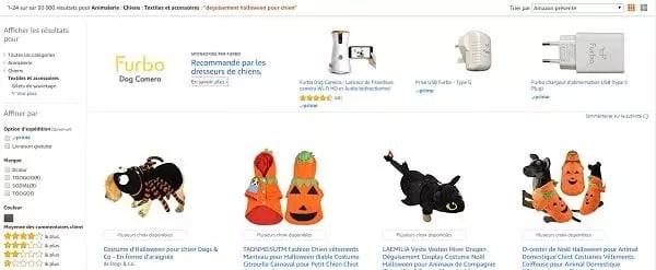 Une capture d'écran des catégories sur Amazon pour l'optimisation