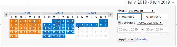 Une capture d'écran de la comparaison des périodes dans Google Analytics