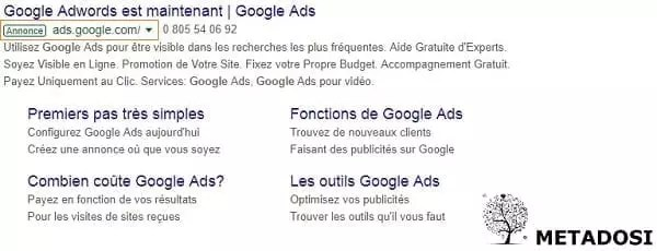 Un exemple d'annonce Google Ads