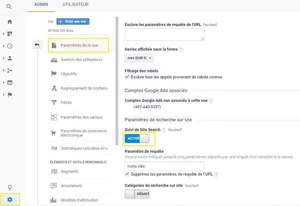 Capture d'écran de l'activation de la recherche sur site dans Google Analytics