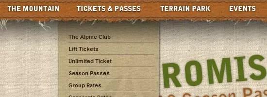 Capture d'écran du menu de navigation Alpine Meadows.
