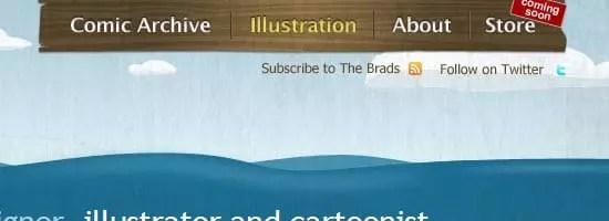 Capture d'écran du menu de navigation de Brad Colbow.