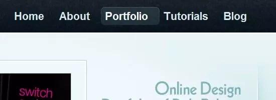 Capture d'écran du menu de navigation Branded07.