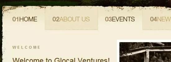 Menu de navigation Glocal Ventures scren shot.