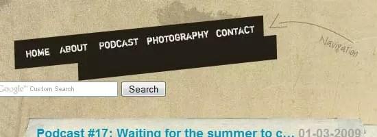 Capture d'écran du menu de navigation Kayintveen.