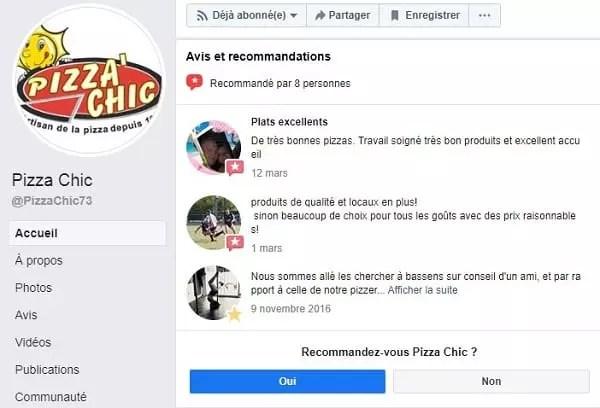 Un exemple d'avis et commentaires sur Facebook pour la vente de pizza à emporter