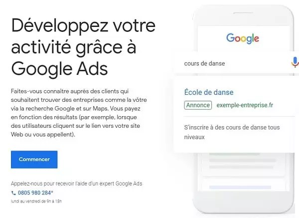 Une capture d'écran de la page d'accueil de Google Ads