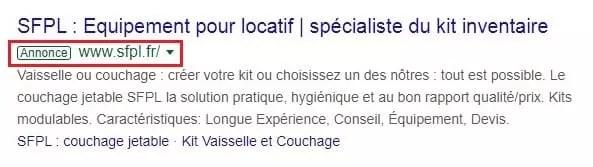 Annonce payante Google Ads location de matériel de camping