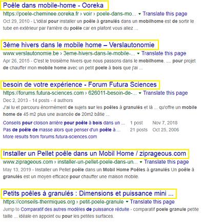 Un exemple de balises titre optimisées dans les résultats de recherche Google