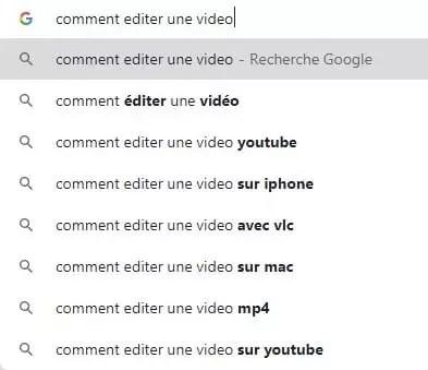 """""""comment éditer les vidéos"""" tapé dans la barre de recherche de Google"""