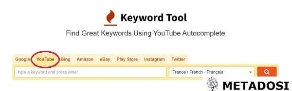 Option YouTube encerclée sur l'outil de recherche par mot-clé