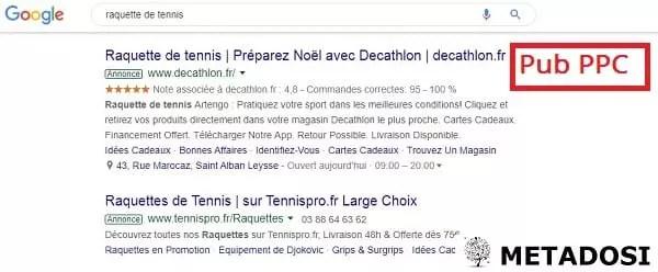 """Annonces PPC pour la requête de recherche """"raquettes de tennis""""."""
