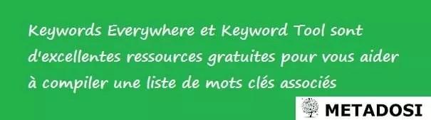 Mots-clés Everywhere et Keyword Tool sont d'excellentes ressources gratuites pour la recherche de mots-clés.
