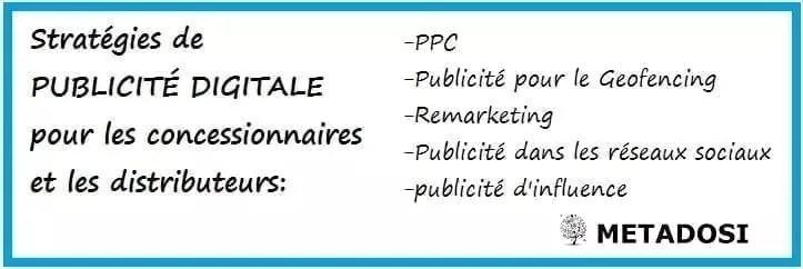 Les stratégies de publicité digitale pour les concessionnaires et les distributeurs comprennent le PPC, le geofencing, les réseaux sociaux et le remarketing