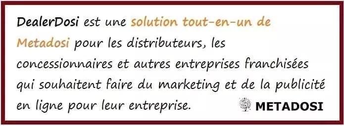 DealerDosi est une solution de marketing et de publicité tout-en-un pour les distributeurs, les concessionnaires et autres entreprises franchisées.