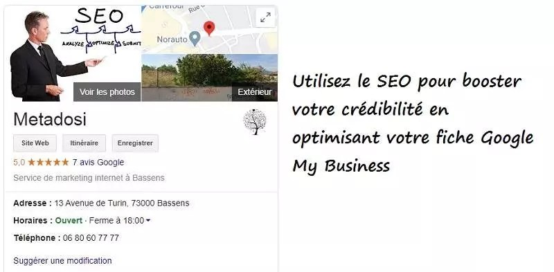 Un exemple de référencement Metadosi Google My Business