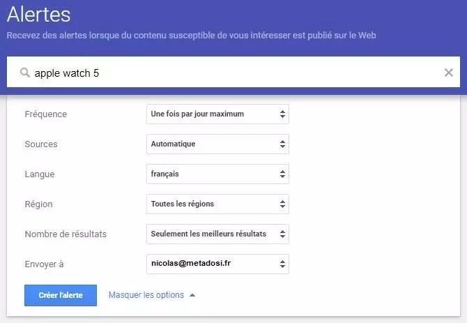 Réglages des alertes Google
