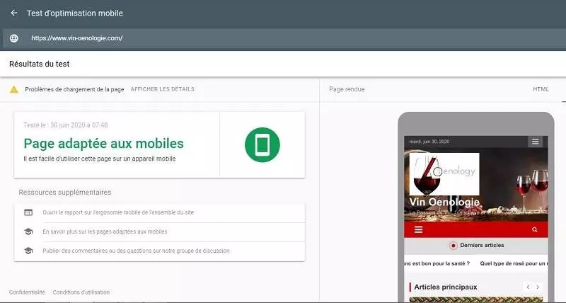 Exemple de convivialité mobile pour le SEO on page