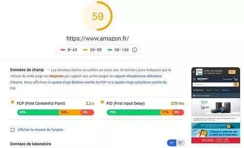 Exemple de vitesse de chargement de page web pour le SEO on page