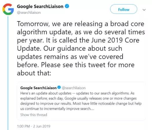 Annonce sur Twitter de la core update de juin 2019 de Google