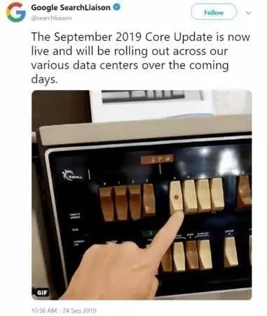 Annonce sur Twitter de la core update de Google pour septembre 2019