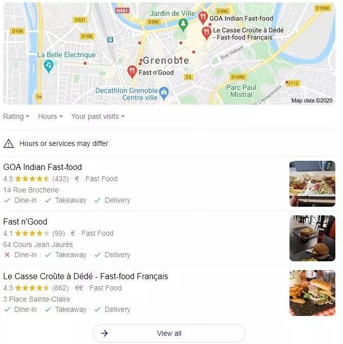 google Map dans la recherche universelle