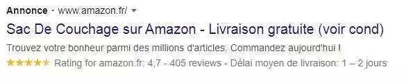 Publicité textuelle sur Amazon