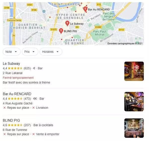 Exemple de pack local Google pour dominer le référencement local