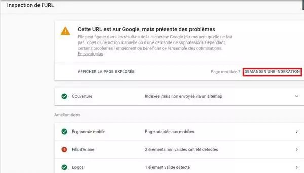 Comment demander l'indexation avec l'outil d'inspection des URL de la Search Console de Google ?
