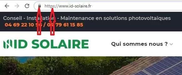 L'URL de ID Solaire indiquant que le site est sécurisé