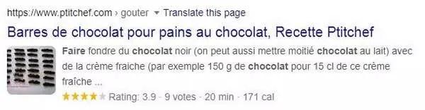 Résultat SEO pour le chocolat