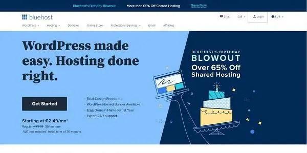 Page d'accueil de Bluehost