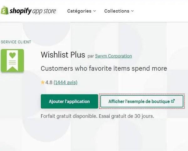 Extension Shopify Wishlist plus