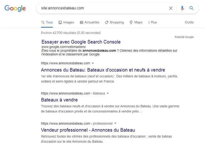 Recherche de site sur Google