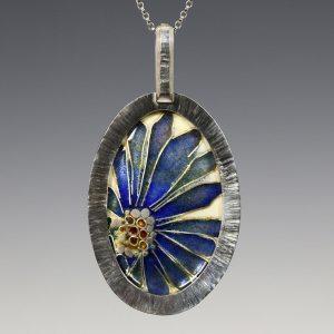 4. Blue Flower Cloisonné Enamel Pendant - 2016 - vitreous enamel, fine silver, sterling silver, gold foil