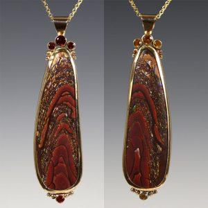 6. Reversible 14K Gold Koroit Boulder Opal Pendant - 2015 - Koroit boulder opal, 14k yellow gold, fire citrine, golden citrine