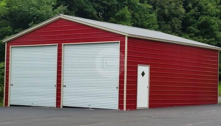24x41 Vertical Roof Enclosed Garage Metal Barn Central