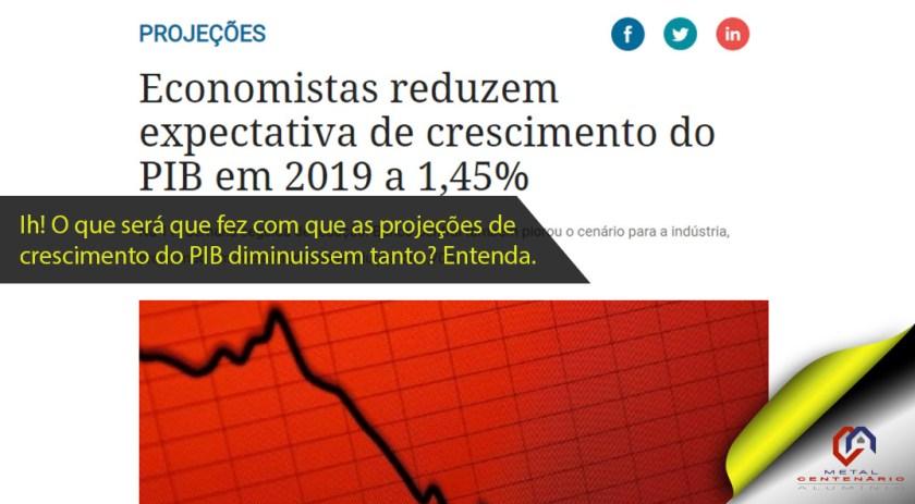 Economistas reduzem expectativa de crescimento do PIB em 2019 a 1,45%. #indústria #perfildealuminioestrutural #esquadriasdealuminio #revendadeperfisdealuminio #PIB (TOP 1 – Jun)