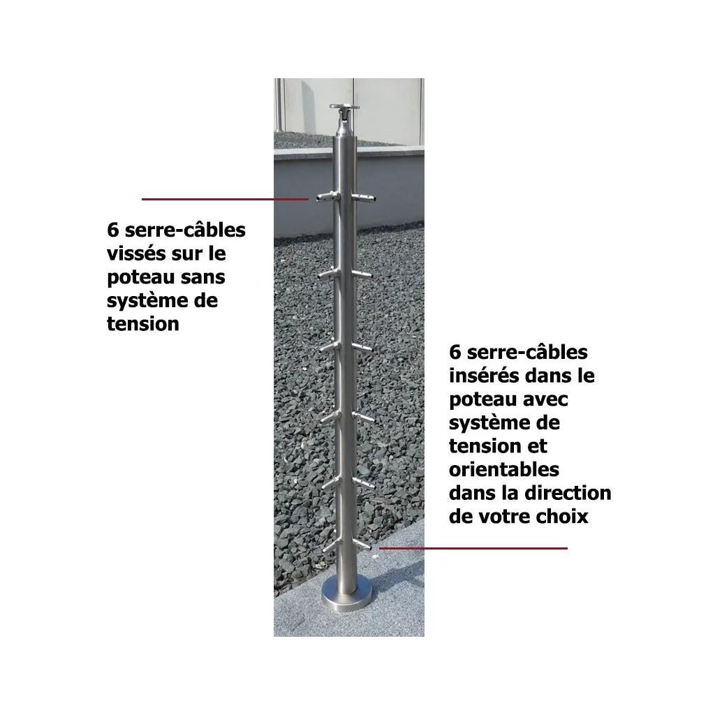 Poteau D Angle Garde Corps Inox 316 6 Cables Et Tendeurs