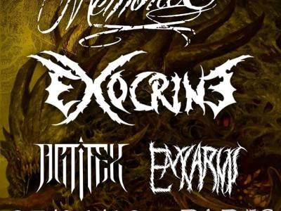 Affiche du concert d'Exocrine, All My Memories, Artifex, Enkarnis au Klub