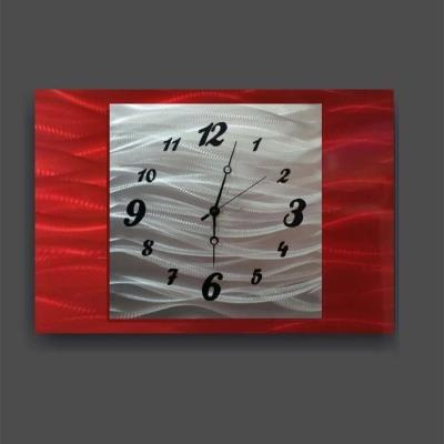 red metal wall clock design