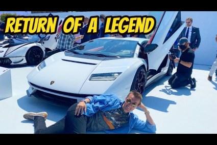 New Lamborghini Countach LPI 800-4 & racing Laguna Seca raceway w/ Pearl white Countach Anniversary edition